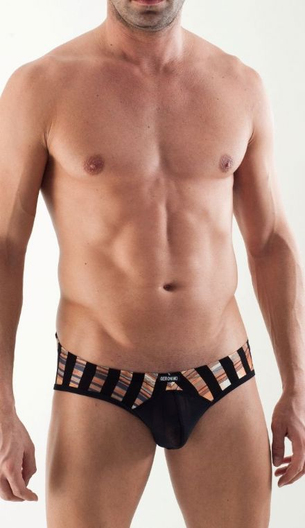 GERONIMO Underwear Mens Fashion  See Through, Net Black Brief , Striped Bulge pouch 1354s4